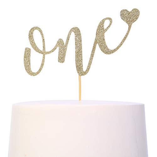 Cake Topper For 1st Birthday - Smash Cake Topper, Birthday Cake For Photo Booth Props, Glitter Cake Decorating Supplies, First Anniversary,ONE' Birthday Cake Bunting Flag (1st Birthday Cake Topper) (First Birthday Cake Topper Gold)
