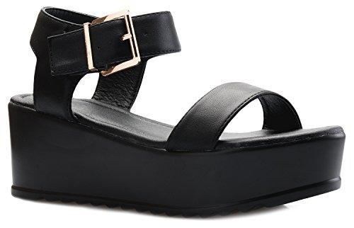 OLIVIA K Women's Platform Buckle Sandal - Open Peep Toe Fashion Chunky Ankle Strap Shoe,Black,8 B(M) US by OLIVIA K