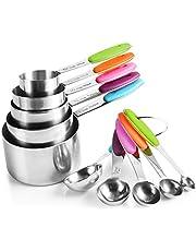 U Chef Tazas y cucharas medidoras (set de 10 piezas) de acero inoxidable de grado alimenticio/Tazas medidoras/Cucharas medidoras
