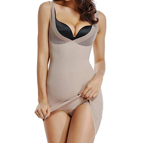 Full Slips for Under Dresses Women Long Cami Seamless Slip Mesh Shapwear for Women (Beige, Large)