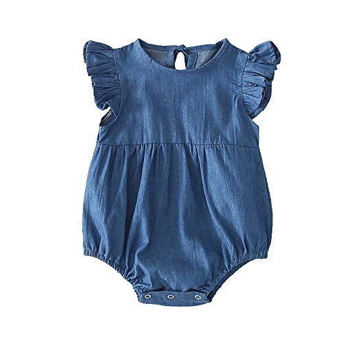 Slowera Baby Toddler Girls Denim Ruffled Bodysuit Blue Soft One-Piece Romper (Blue, 6-12 Months) ()