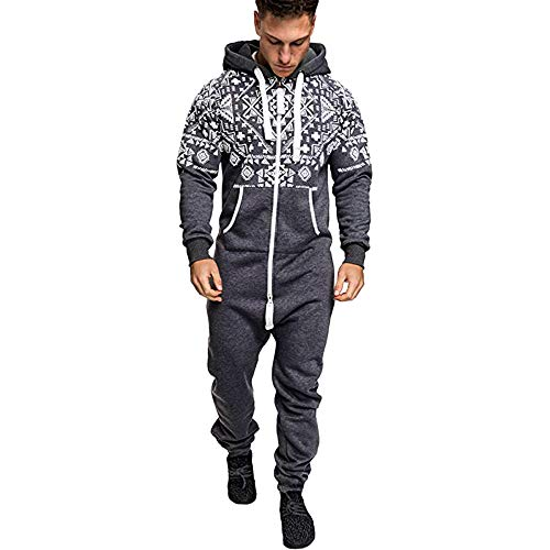 Men's Christmas Onesie Jumpsuit one Piece Non Footed Pajamas Unisex-Adult Hooded Overall Zip up Playsuit Xmas Romper (Grey, L) ()