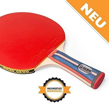GEWO Adultos Tenis de Mesa Profesionales y Aficionados. 1.8mm ITTF Lion Combinado Raqueta de Tenis de Mesa, Azul/Rojo, One Size