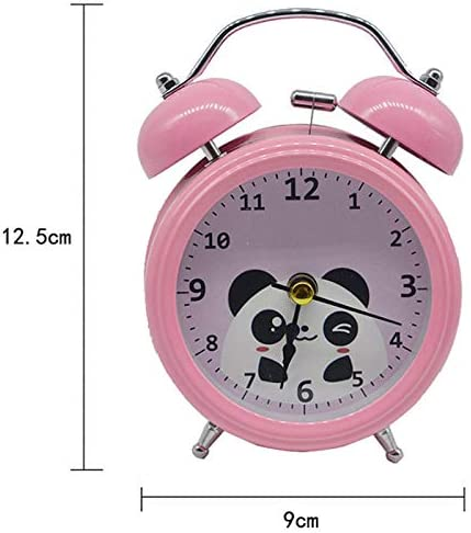 Monique Students Seniors 3in Cartoon Panda Twin Bell Loud Alarm Clock Silent Analog Quartz Nightlight Clock