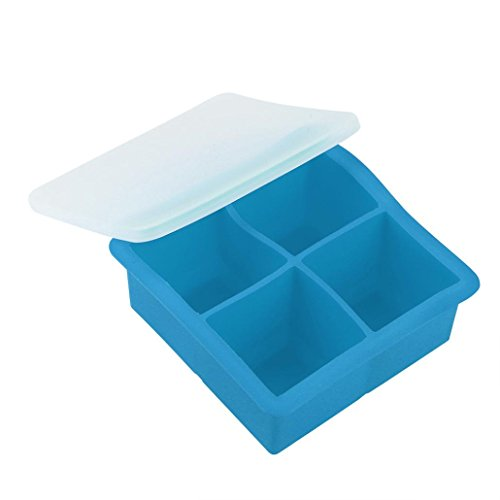 Sunfei Ice Balls Maker Round Sphere Tray Mold Cube Whiskey Ball Cocktails Silicone (Square, Sky Blue)