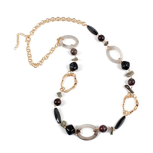 (KOSMOS-LI Multicolor Grey Tone Resin Beads Statement Beaded Strand Long Necklace for Women Gift)