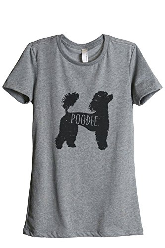 Tank Poodle - Thread Tank Poodle Dog Silhouette Women's Relaxed T-Shirt Tee Heather Grey Medium
