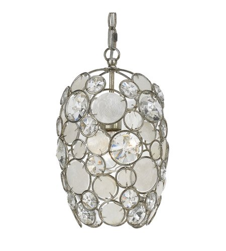 - Mini Chandeliers 1 Light With Antique Silver Natural White Capiz Shell Crystal 9 inch 100 Watts - World of Lighting