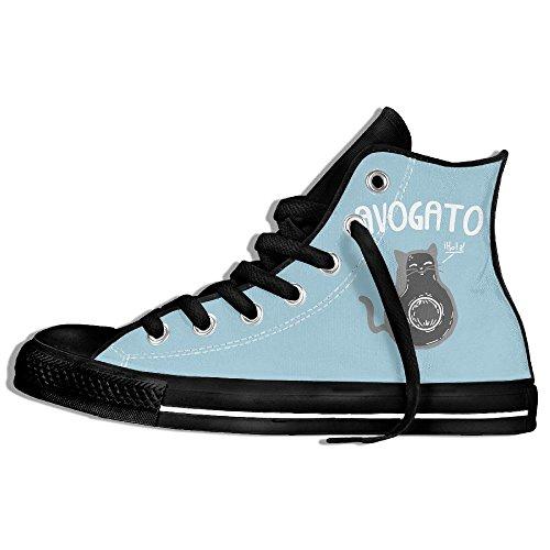 Classic High Top Sneakers Canvas Shoes Anti-Skid Avogato Cartoon Casual Walking For Men Women Black 9sJGmm