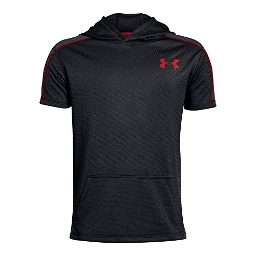 Under Armour Boys Tech Short sleeve Hoodie, Black (001)/Red, Youth Small