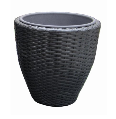 DMC Products 78388 15-Inch Vista Curved Round Resin Wicker Planter (Dmc Flower)