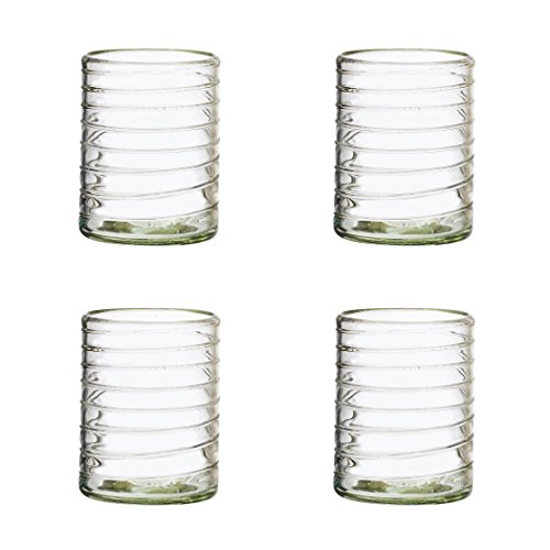 Amici Home, A7MCR045S4R, Clara Collection Double Old Fashioned Drinking Glass, Mexican Artisan Handmade Glassware, Recycled Glass, Dishwasher Safe, Set of 4, 12 Ounces ()