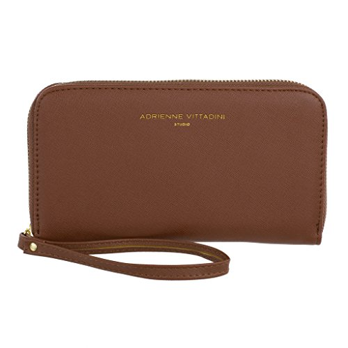 Adrienne Vittadini Charging Wristlet Wallet: Smartphone Zip Wallet Case with Phone Battery Charger Power Bank for Women and Girls - Cognac Saffiano