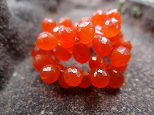 GemAbyss Beads Gemstone Orange Carnelian | Faceted 3-D Teardrop Pear Briolette Beads | 9x5mm | Sets of 12, Sets of 16 ()