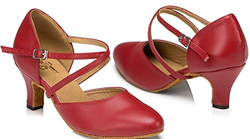 Abby Womens Latin Tango Cha-cha Salsa Party Modern Kitten Hak Rond-teen Leer Dans-sneaker Rood (2.4in)