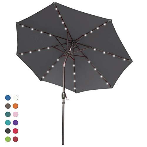 ABCCANOPY Solar Umbrellas Patio Umbrella 9 FT LED Umbrellas 32LED Lights with Tilt and Crank Outdoor Umbrella Table Umbrellas for Garden, Deck, Backyard, Pool and Beach,12+Colors, (Dark Gray)
