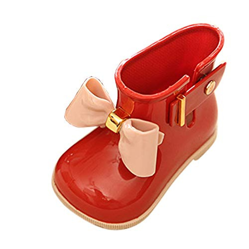 KpopBaby Toddler Kids Solid Rubber Rain Boots Red