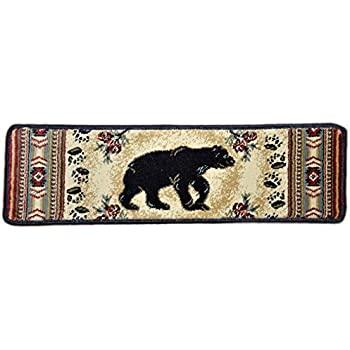 Dean Premium Carpet Stair Tread Rugs Black And Red Bear
