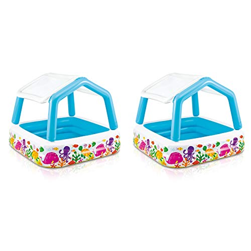 - Intex Inflatable Ocean Scene Sun Shade Kids Pool with Canopy | 57470EP (2 Pack)
