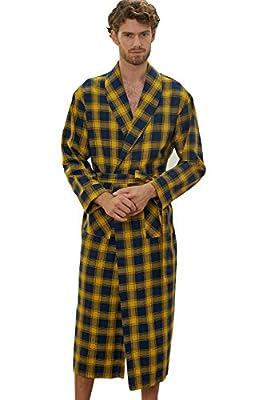 Men's Robes Cotton Robe Yellow Grid Lightweight Woven Kimono Bathrobe S-3XL