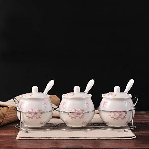 Ceramic Sugar Bowls with Lids and Spoons and Shelf,Porcelain Condiment Jar Spice Container,8.3 oz 245 ML,3 Pcs Set (White)