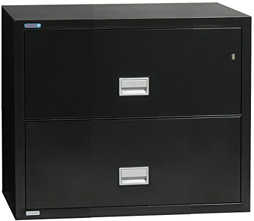 (Phoenix Lateral 31 inch 2-Drawer Fireproof File Cabinet, Black)