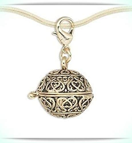 (Filigree 18mm Round Antiqued Gold Prayer Box Locket Clip-On Charm or Pendant 1pc)