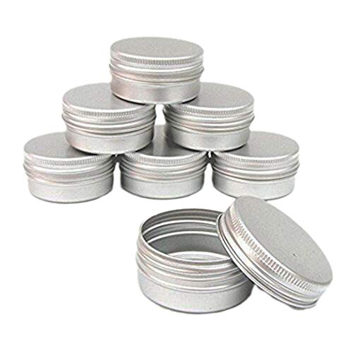 CTKcom 1-Ounce Metal Steel Tins Screw Top Flat Aluminum Silver Slide Round Tin Containers for Lip Balm,Crafts,Cosmetic,Candles,Travel Storage Kit (Pack of 20) 2 Ounce Travel Tin