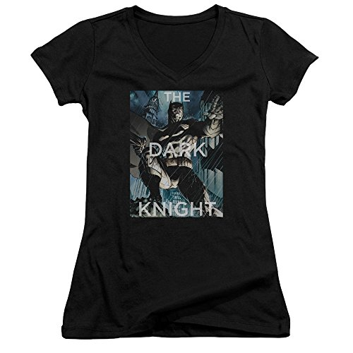 (Batman Fighting The Storm Juniors' Sheer Fitted V-Neck T Shirt, X-Large)