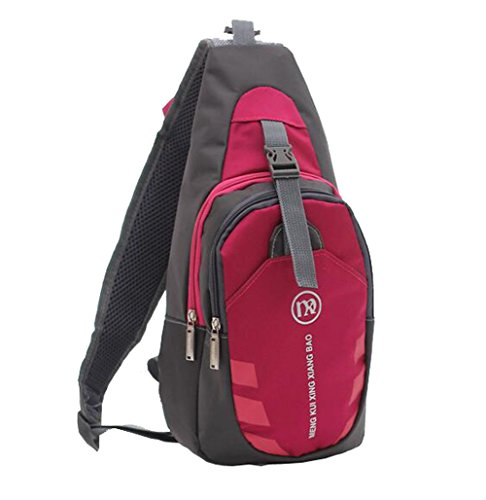 Unisexs Travel Hiking Backpack Waterproof Material (Rose red) - 8