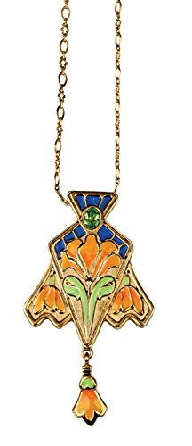 Cloisonne Lily Pendant - Collectible Medallion Necklace Accessory