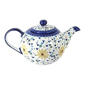Blue Rose Polish Pottery Yellow Daisy Large Teapot