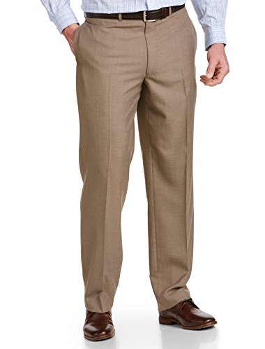 Geoffrey Beene Big and Tall Textured Solid Flat-Front Suit Pants (50 X 30, Tan) by Geoffrey Beene
