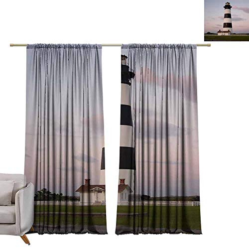 - berrly Tie Up Window Drapes Living Room The Light of Dusk illuminates The Bodie Island Lighthouse in The Outer Banks of North Carolina W72 x L96 Pocket Thermal Insulated Tie Up Curtains