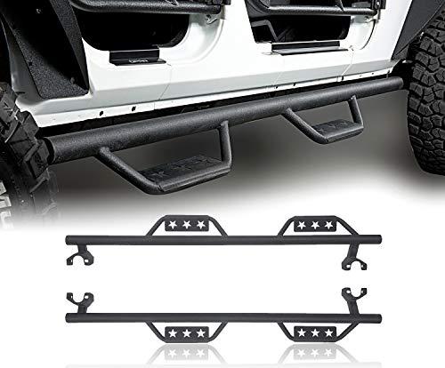(u-Box Jeep Wrangler Unlimited Side Steps Nerf Bar Wide Drop Running Board Solid Steel for Jeep Unlimited JK 4-Door 2007-2018)