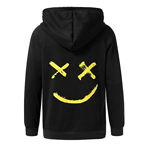 start_wuvi Men's Hoodie BE Happy Smiley Print Color Block Hooded Pullover Tops Winter Spring Plus Size Cozy Sweatshirt,S~5XL