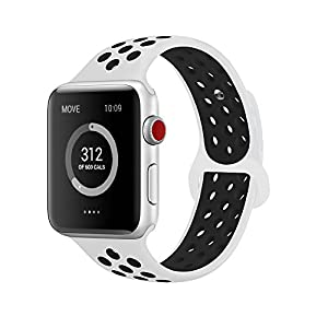 AdMaster for Apple Watch Bands 42mm,Soft Silicone Replacement Wristband for iWatch Apple Watch Series 1/2/3 - M/L White/Black