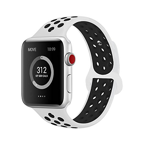 atch Bands 42mm,Soft Silicone Replacement Wristband for iWatch Apple Watch Series 1/2/3 - M/L White/Black ()