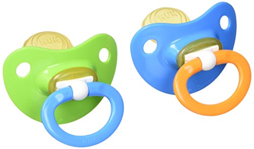 NUK Natural Shape Orthodontic Pacifiers, Latex, 18-36 Months Assorted Colors Color May Vary 2 ea (Pack of 2)