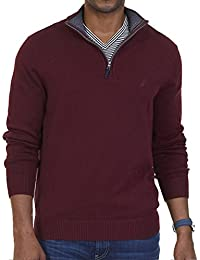 Men's Big and Tall Long Sleeve 1/4 Zip Solid Sweater with...
