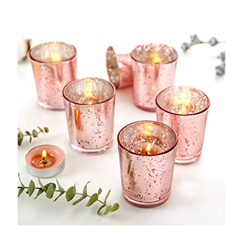 Supreme Lights Mercury Votive Candle Holders, Speckled Glass Tealight Holder, 2.45-inch Tall(Set of 12) (Rose Gold)