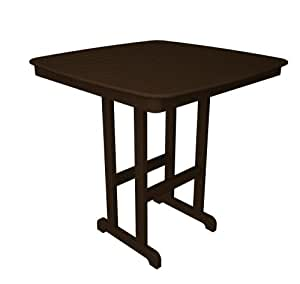 POLY-WOOD Outdoor Furniture Nautical 44 Inch Bar Table, Mahogany-Recycled Plastic Materials