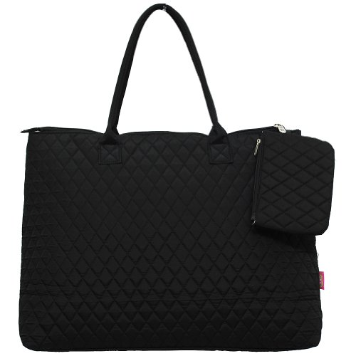 Black Quilted Tote Bag - Solid Black Print NGIL Quilted Over Night Tote Bag