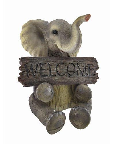 Adorable `Pachy Princess` Baby Elephant `Welcome` Sign Home Decor