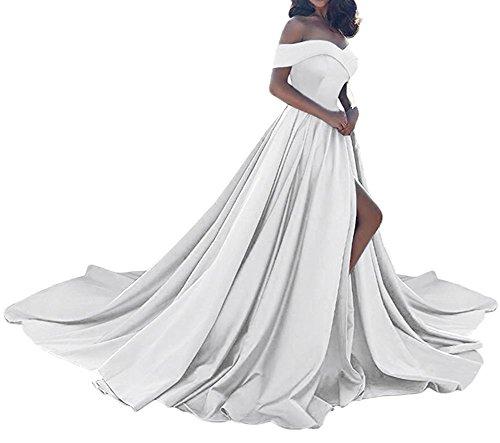 Jazylynbride 2018 Une Ligne Vintage Des Femmes De L'épaule Longue Robe De Bal En Satin Blanc