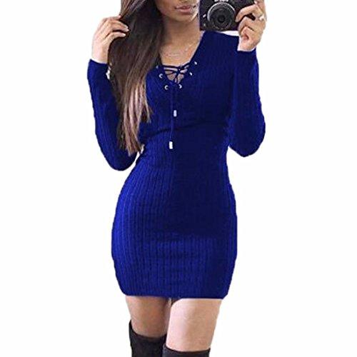 QIYUN.Z Suéter del Partido del Coctel del Vestido del Bodycon del Invierno de la Caída de las Mujeres Suéteres Azul Real