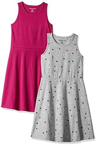 - Amazon Essentials Little Girls' 2-Pack Tank Dress, Star/Fuchsia, X-Small