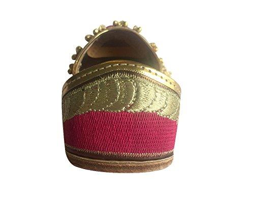 Étape N Style Femmes Ghungroo Rose Punjabi Jutti À La Main Khussa Chaussures Ethniques Mojari Flat Designer Ballet Rose