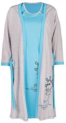 Happy Mama. Maternity Set Premamá camiso?n de lactancia bata jirafa diseño. 773p Azul Claro