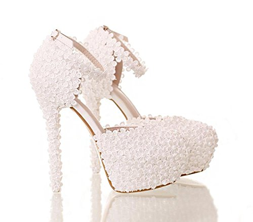 Si Heel And Lace Women's Sandals Flower Stiletto amp; Bride 3 High Round Novelty heeled Bridesmaid Wedding Pu Toe Shoes rqRrxwA7